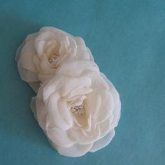 Double Ivory Rose Hair Comb Organza Rose B115  by HARTfeltart, $39.00