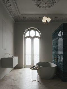 Beige & green stone bathroom design by Emil Dervish and Evgeniy Bulatnikov