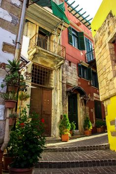 Colorful Alley at Chania, Crete, Greece