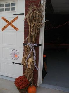 corn stalks tied with ribbon are great to set around Corn Stalks, Ladder Decor, Halloween Party, Ribbon, Home Decor, Tape, Band, Ribbon Hair Bows, Interior Design
