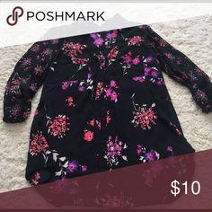 Floral print blouse Black floral print blouse Express Tops Button Down Shirts