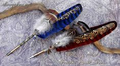 Blue and Red Feather Quill Pens by Chaey by ChaeyAhne.deviantart.com on @deviantART