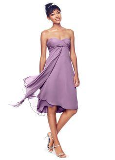 Long Strapless Chiffon Dress with Pleated Bodice - David's Bridal ...