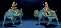 A PAIR OF CLOISONNE AND CHAMPLEVE ENAMEL 'QILIN AND BOY' CENSERS, QIANLONG/JIAQING PERIOD (1736-1820) from Christies.com