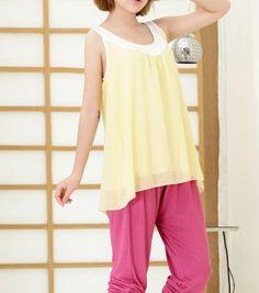 Round Neck Sleeveless Yellow Chiffon Long T-shirt