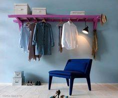 one shelf with hangers