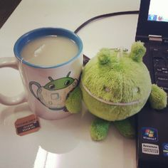 Micro Android approves of green tea, especially in an Android mug. #squishable
