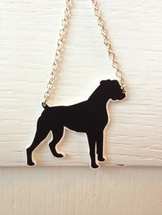 Boxer silhouette pendant and necklace by PamelaGriceArt on Etsy