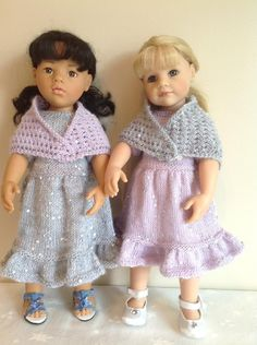 """Fashion Knits for 18"""" and 19""""dolls clothes knitting pattern. Original Design.PDF Instant download.Delightful pattern for 18""""/19"""" Girl Dolls glitter party dress and shawl.18""""/19"""" will fit Gotz, Design-a-Friend, American Girl.Knitted on size 4.50 mm and 3.50 mm needles. Like most of my patterns this isn't a difficult project, I like to design with the novice and the experienced knitter in mind!The dress takes 50 grams of King Cole Galaxy D/K glit..."""