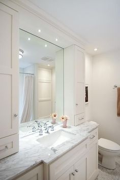 Master Bathroom Visualization White Cabinets Chrome Hardware Faucet Cloud Cover Benjamin Moore