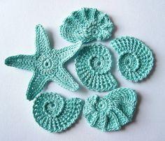 aqua crochet shells