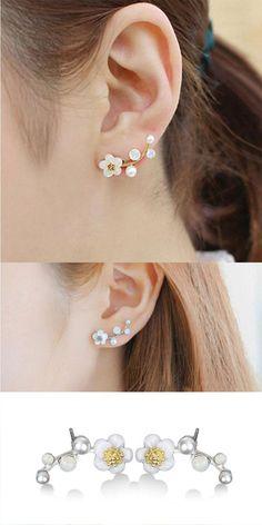 Ladies Earrings Bird Flower Pattern Ear Stud Crystal Round Gold Pearl Jewel 6A