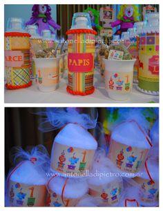 Souvenirs personalizados. Party favors. Mate + termo y cupcakes de toallitas . Circus party http://antonelladipietro.com.ar/blog/2012/06/el-circo-de-los-trillis/