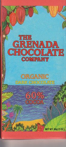 60% Fine Dark Chocolate from the The Granada Chocolate Company's Organic* Cocoa Farmers' and Chocolate-Makers' Cooperative. Grown and made at source in Granada. This is a sweet and rich chocolate with an intense and complex chocolate flavour.