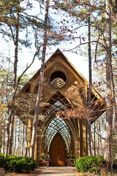 Gorgeous real chapel in Arkansas - glass with wood frame.