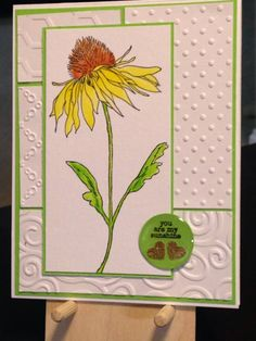 Just Because Card - Inspiration: http://www.splitcoaststampers.com/gallery/photo/1058297?&cat=596 - Inks:  Versafine Onyx Black, Ranger Archival Jet Black - Spectrum Aqua:  Sunflower, Terracotta, Bud Green - Wink of Stella Brush Clear - Stamps:  Stapers Anonymous/Tim Holtz Flower Garden, Simon Says Stamp Happy Day - Embossing Folders:  The Paper Studio Honeycomb and Tiny Polk, Lifestyle Crafts Bloom, Sizzix/Tim Holtz Flourish Swirls - I inch Epoxy Circle
