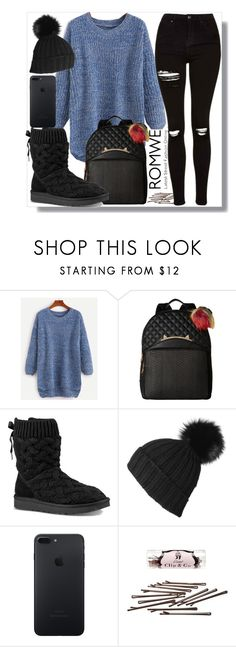 """""""romwe contest"""" by teto000 ❤ liked on Polyvore featuring Betsey Johnson, UGG, Black, L. Erickson and Topshop"""