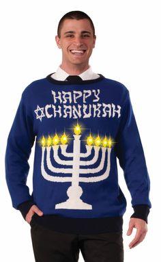 Chanukah Light Up Menorah Sweater - Large