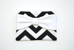 Cosmetic Case / Zipper Pouch - Black and White Chevron White Bow by AlmquistDesignStudio on Etsy
