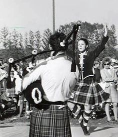 1971 Highland Festival piper and dancer - Alma College - Michigan USA.