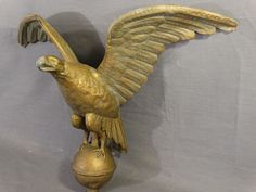 19thc Antique Victorian Full Body Eagle On Ball Old Copper & Zinc Weathervane