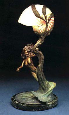 Mermaid and Nautilus Bronze Sculpture Electric Lamp by Hunt Wildlife Studios Mermaid Lamp, Mermaid Room, Mermaid Skin, Art Nouveau, Galle Vase, Statues, Fish Lamp, Luminaire Vintage, Mermaids And Mermen