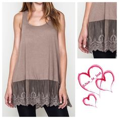 Last Large Sleeveless Lace Tank Cotton blend tank with lace detail.  Wear this alone or layer it.  Woman's size Small (2-4) Medium (6-8) Large (10-12).  Any questions please ask.  Color is Mocha.  No trades  ✅ Reasonable offers considered  ✅ Happy Poshing  Tops