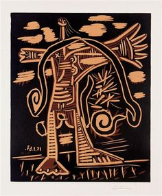 Artwork by Pablo Picasso, Femme nue débout, Made of linocut in colours Pablo Picasso, Picasso Art, Lino Print Artists, Lino Prints, Cubist Movement, Museum Of Modern Art, Oeuvre D'art, Drawing Sketches, Printmaking