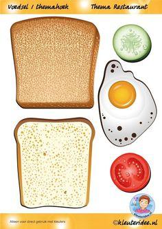 Voedsel 1 themahoek, hoort bij de bestellijst, thema restaurant, juf Petra van kleuteridee, Restaurant role play,food, free printable