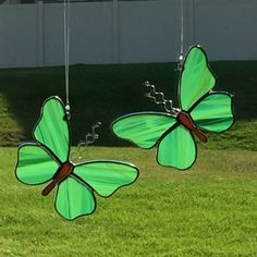 Stained glass butterfly suncatcher, stain glass green butterflies, green moth by FoxStainedGlass on Etsy