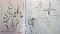 Sketch and painting of this beautiful painting 'Lady Justice'. #art #dutchart #painting #kunst #schilderij #artwork #strongwomen #picasso #matisse #klimt