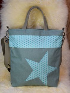 Grosse geräumige Rucksacktasche in grün / mint mit Stern, Rucksack Tasche, abgeänderte Paula Diaper Bag, Mint, Bags, Star, Handarbeit, Totes, Peppermint, Handbags, Diaper Bags