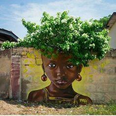 Impressive & Creative Mural Tree Hair Street Art Graffiti Ideas - Home & Garden: Inspiring Interior, Outdoor and DIY Ideas Street Art Banksy, Murals Street Art, Mural Art, Street Art Love, Urban Street Art, Amazing Street Art, Urbane Kunst, Dope Art, Arte Floral