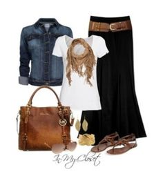 - Long black skirt, denim jacket, brown sandals and purse and belt, gold and brown bracelets…Is it spring yet?