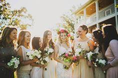bright pink floral crown / bridesmaids dresses mismatched / Nashville Tennessee wedding venue / outdoors / farm / front porch farms / beautiful views / Ariel Renae Photography / Destination Wedding Photographer / Nashville Wedding Photographer / www.arielrenaephoto.com