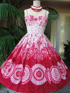 Vtg 50's-TORI RICHARD~HAWAIIAN~RED/WHT~PINUP~SUN DRESS GArden Party Dress | eBay
