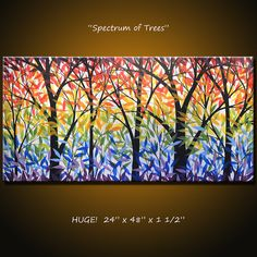 "Amy Giacomelli Paintings Rainbow Landscape Original Large Abstract Modern... 24 x 48 .. ""Spectrum of Trees"""