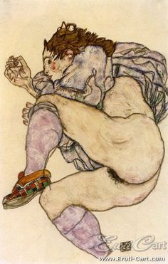 Nude with Chequered Slipper : Erotic drawing in ink with watercolours by Egon Schiele. 1890 - 1918