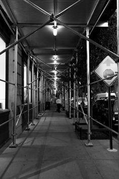 Ever-present sidewalk scaffolding Scaffolding, Sidewalk, Street, Photography, Photograph, Side Walkway, Fotografie, Staging, Sidewalks