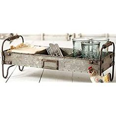 Galvanized Decorative Trays Steel Industrial Divided With Standgrey Home Wooden Handles, Rustic Kitchen, Tray Decor, Desk Organizer Set, Rustic Farmhouse Kitchen, Rustic Kitchen Decor, Painted Table, Galvanized Steel, Farmhouse Furniture