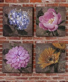 Loving this Floral Lighted Canvas - Set of Four on Lighted Canvas, My New Room, Painting Frames, Wrapped Canvas, Decorative Boxes, Canvas Art, Artsy, Framed Prints, Wall Art