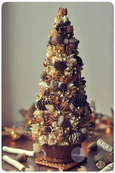"""Ёлка """"Коричневый цветок"""" - молочный,новый год 2015,новогодний декор,ёлка"""