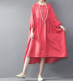 Summer long red oversized loose long dress yellow large size