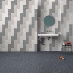 Amalfi Stone Fabrik | Floor INDIGO Natural 24x24 Rect - Wall WHITE + ECRU + GREY Natural 6x24 Rect Scene 6