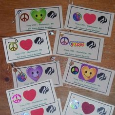 Peace, love, and Girl Scouts SWAP, simple, just laminate over for durability, print out, cut add stickers