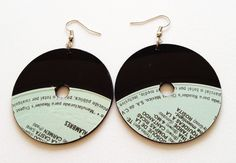 Vinyl Earrings Upcycled Recycled Black Eco Vinyl Records Drop