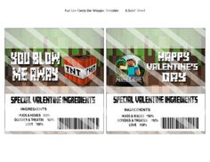 MINECRAFT VALENTINES DAY CANDY BAR WRAPPERS EDITABLE WITH YOUR CHILD'S NAME