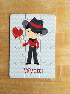 Personalized Valentine Cowboy Puzzle by jpurifoy on Etsy
