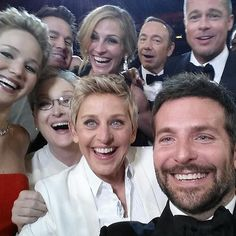 Ellen Took the Most A-List Selfie Ever: Source: ABC In the middle of the Oscars, host Ellen DeGeneres decided to go for the most-retweeted picture ever — and within minutes, she succeeded.