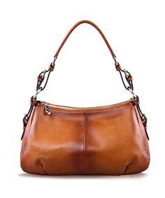 a721fa7dbe4e Womens Hobo Genuine Leather Shoulder Bag Top-handle Handbag Ladies Purses -  Brown - CM12BKLRA9H